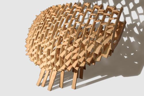Matteo Berra (2014), Sezione della continuità dello spazio, Abete e multistrato di abete, Cm 200 x 300 x 170